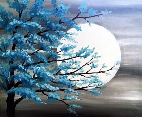 65 Simple And Beautiful Acrylic Painting Ideas For Beginners Hercottage Moonlight Painting Acrylic Painting Techniques Beginner Painting