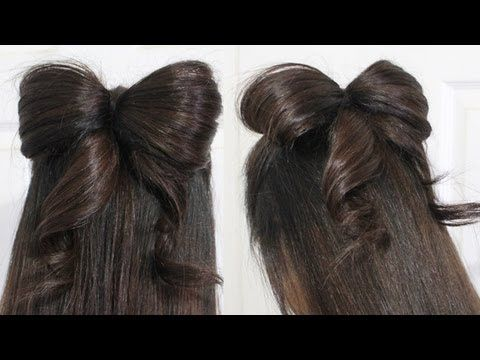 Hair Bow Tutorial Hairstyle for Medium and Long Hair (Half-Updo with Ribbon)