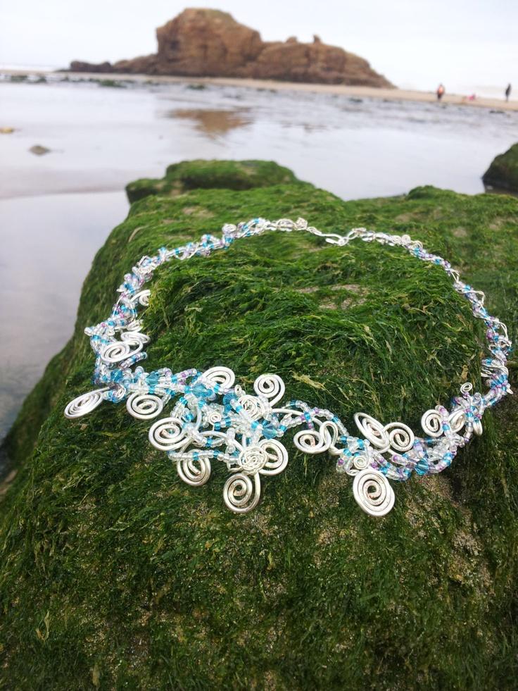 Sea Swirls Silver Bead Necklace by OnenJewellery on Etsy, £25.00