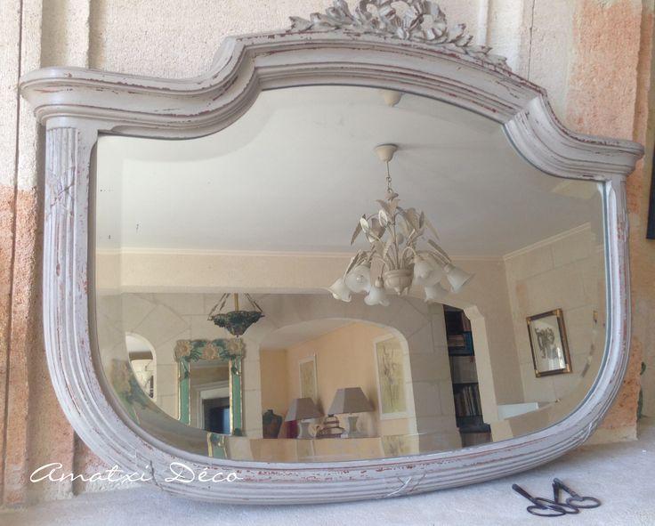 Amatxi d co cr ations miroir ancien biseaut relook for Effet miroir paint