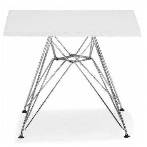 table de conception, multi-usages.  , cadre chrome.   bouchon en bois blanc brillant laqué en carre