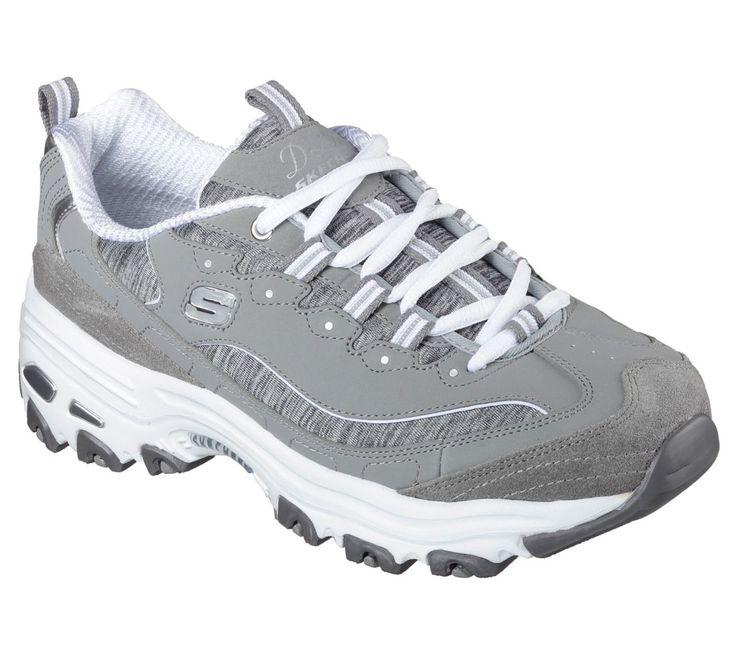 Skechers Women'S D'Lites Me Time Lace Up Sport Sneaker Shoes Gray/White 11936