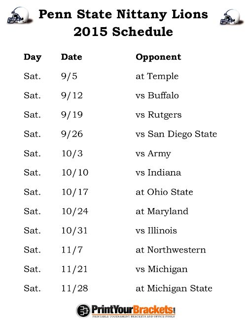 Printable Penn State Nittany Lions Football Schedule 2015
