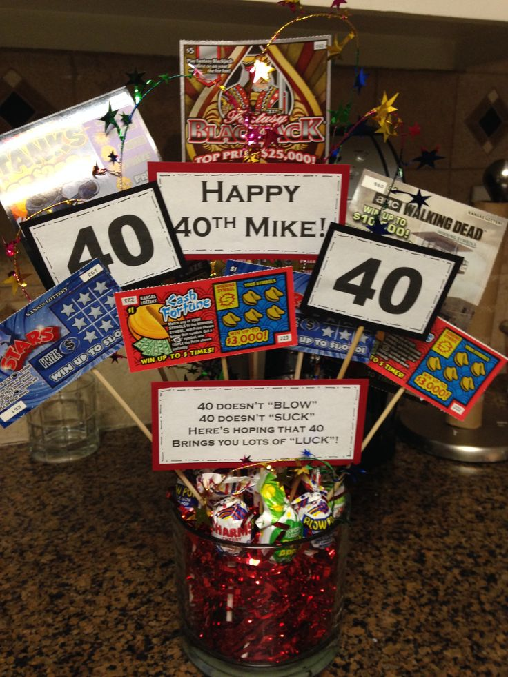40th Birthday Idea for Mean Lottery bouquet Husband