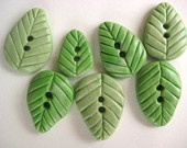 Spring Leaves-- Polymer Clay Buttons set of seven