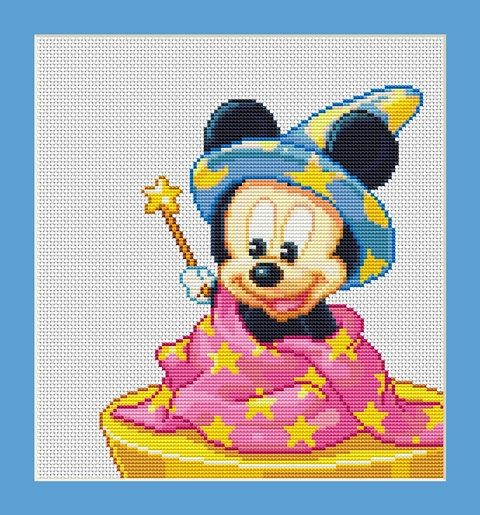 Baby Mickey Mouse Magician Counted Cross by InstantCrossStitch