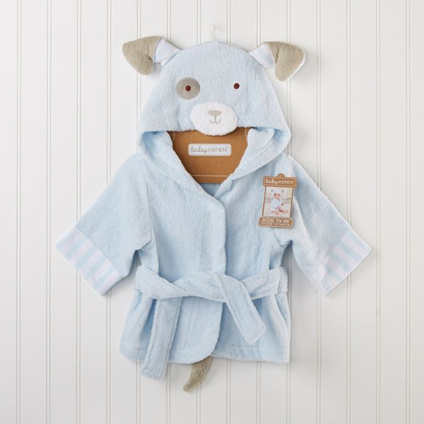 A light blue puppy robe (complete with a little tail!) is a cute gift that will make bath time fun for baby! Add baby's name for a customized touch.