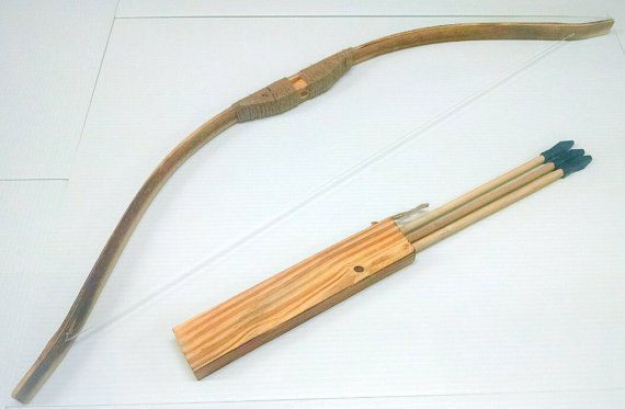 Wooden Bow and Arrow set kids youth toy-For by TXToyWorkshops