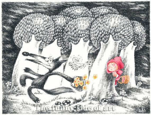 Original pen & ink, watercolor child illustration, Little Red Riding Hood and the Big Bad Wolf   No 3, nursery wall art, Funny Valentine
