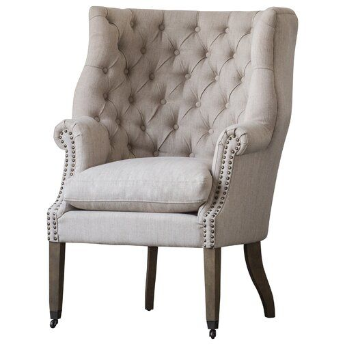 One Allium Way Calla Tufted Wingback Chair Wayfair Winged