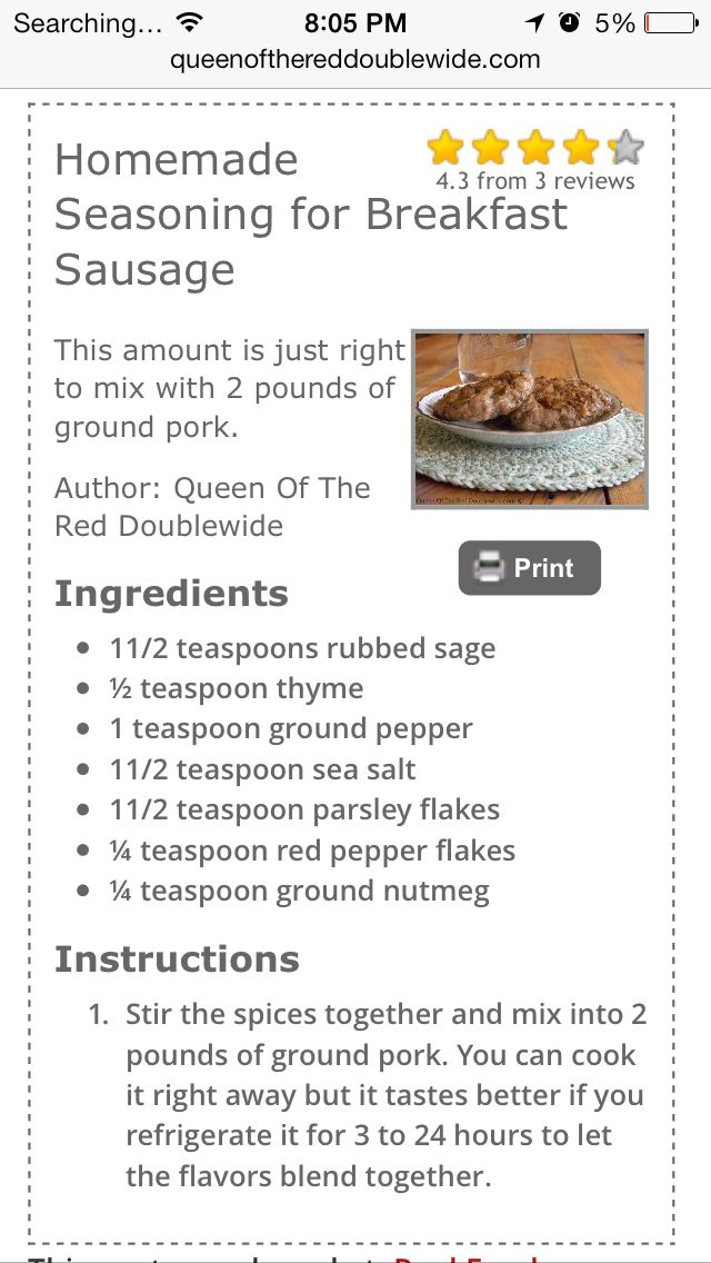 Sausage seasoning-- we NEED this recipe for DIY sausage in Scotland!