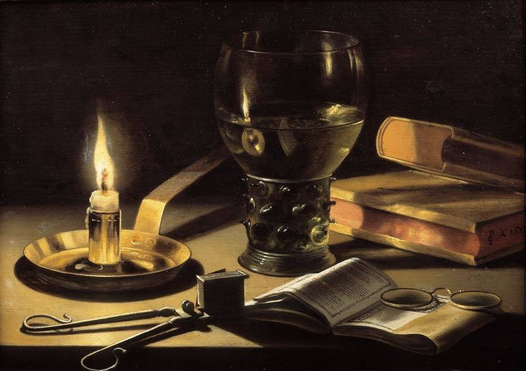 Pieter Claesz, Still Life with Books and Burning Candle, 1627, Royal Picture Gallery, Mauritshuis, The Hague, oil on panel, 26,1 x 37,3 cm #glasses