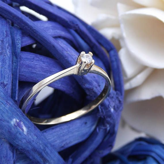 Anello oro-Anello solitario con diamante-anello donna in oro 9