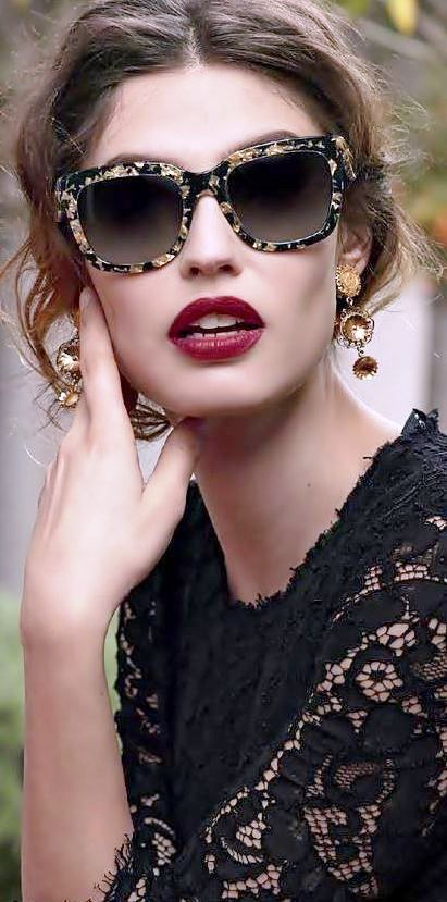 LOVE! ... Dolce  Gabbana.  So love all this.  I NEED these glasses. Gold leaf.. dolce Vita, bella. Black lace, dark red lips, gold embellishments.