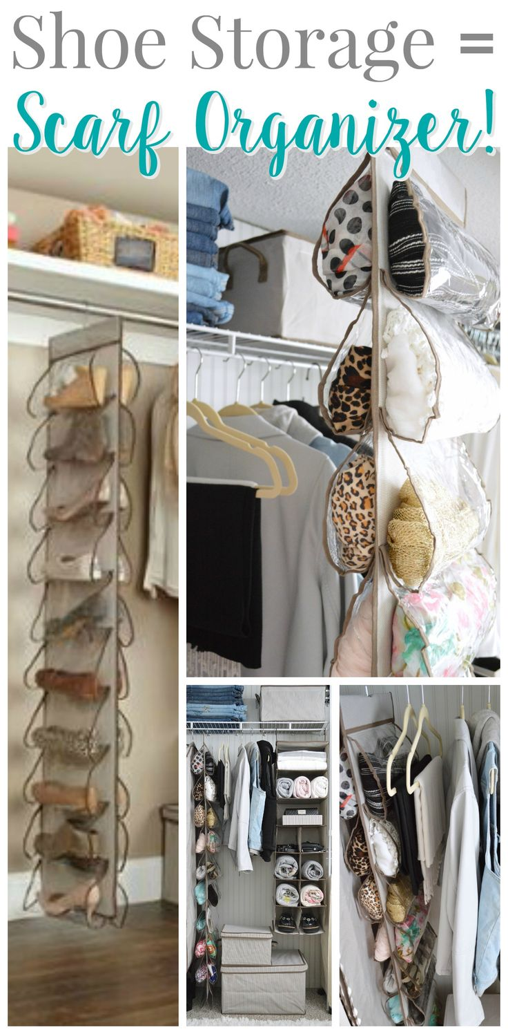 Plastic hanging shoe storage as a scarf organizer! With the clear plastic and 20 slots, it makes a super smart place to organize and store your scarves. See the whole closet with even more affordable organizing ideas at foxhollowcottage.com   #sponsored with Better Homes & Gardens from Walmart #storage #organization #organizingideas