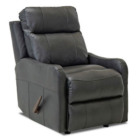 Klaussner Furniture Made to Order Tacoma Leather Reclining Rocking Chair (Charcoal Grey), Size Standard
