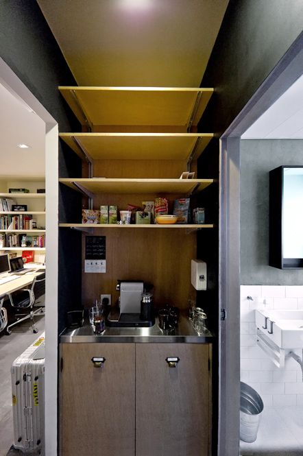 pantry design in Hintegro Studio with nespresso coffee machine and unfinished plywood cabinet. www.hintegro.com
