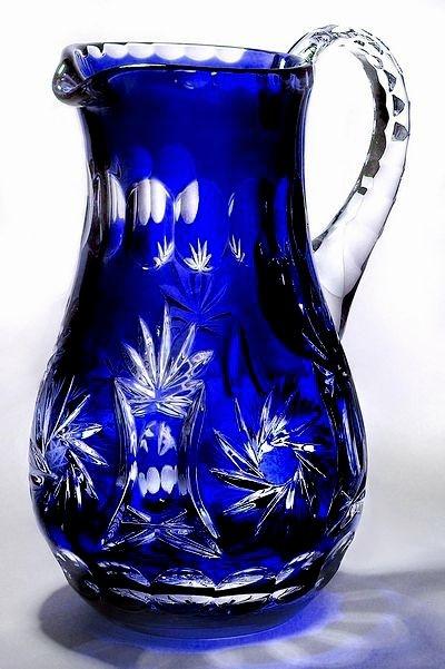 Blue Cased Crystal Pitcher