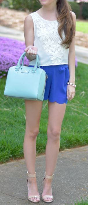 Royal Blue scalloped shorts - Catch Bliss Boutique