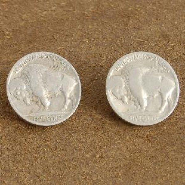 Native American Indian Southwest Buffalo Head Nickel Earrings