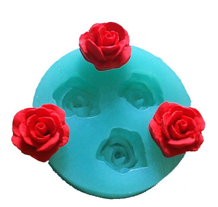 Ucuz Pembe 1 parça ücretsiz kargo 3 gül pişirme araçları noel düğün dekorasyon Silikon Kalıp Fondan Şeker Bow Craft FT 157, Satın…