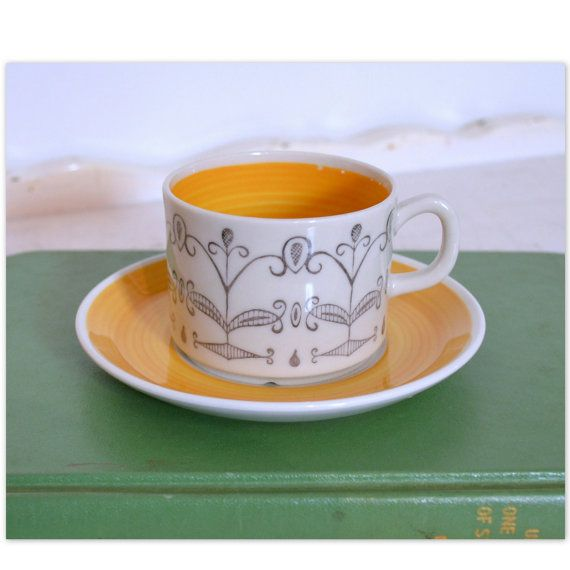 """Gefle Swedish Porcelain """"Maria"""" Demitasse Cup & Saucer Set, White w/ Yellow and Delicate Grey Design"""