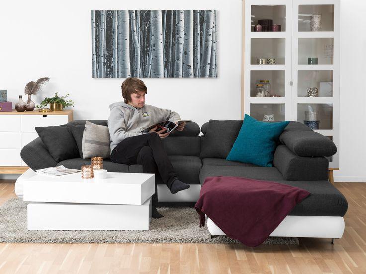 MANNHEIM L-soffa Vit/Antracit - L-soffa i vitt konstläder och antracitgrått tyg, välj mellan öppet slut till höger eller vänster. Mått: B256 D230 H85 cm.