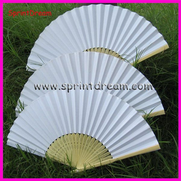(50pcs/lot)  Free Shipping! White paper fan, wedding fan, hand fan, Japanese fan $50.70