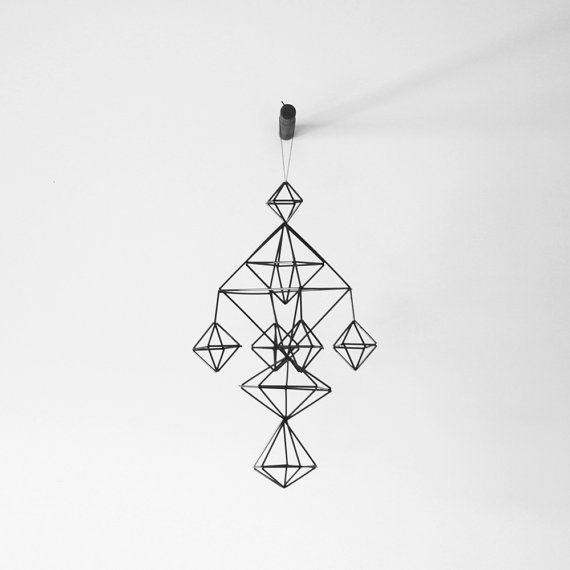 Himmeli No. 5 / Rigid Straw / Modern Hanging Mobile / Geometric Sculpture / Minimalist Home Decor