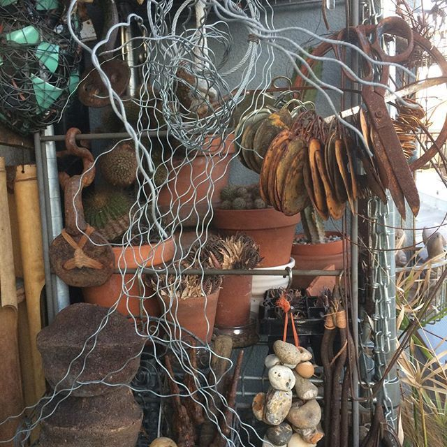 stuff... #balconylife #rust #metal #pebbles #cacti #collections