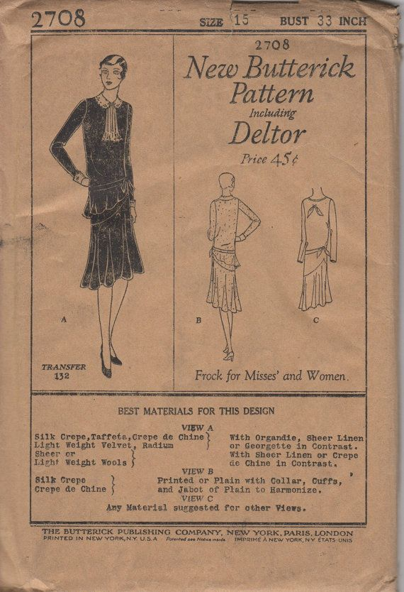 FACTORY FOLDED 1920's Misses' Frock Dress Butterick Deltor 2708 Size 14 Bust 32 and Size 15 Bust 33