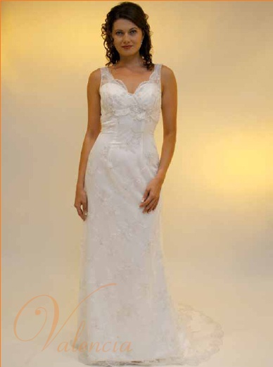 Valencia Bridal V125  Pretty, delicate lace gown, strapless satin undergown with heather lace overlay