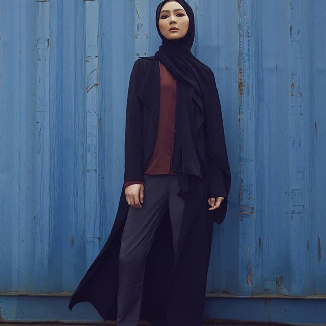 INAYAH | Your perfect ensemble for a casual chic look.  Black Waterfall Coat  Rust Pure Silk Blouse  Charcoal Straight Leg Trousers  Black Soft Touch Hijab  www.inayah.co