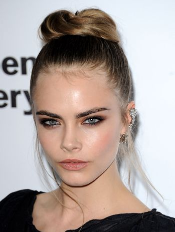 Cara-Delevingne. Buns are a staple style in my hair wardrobe. Makeup beautiful
