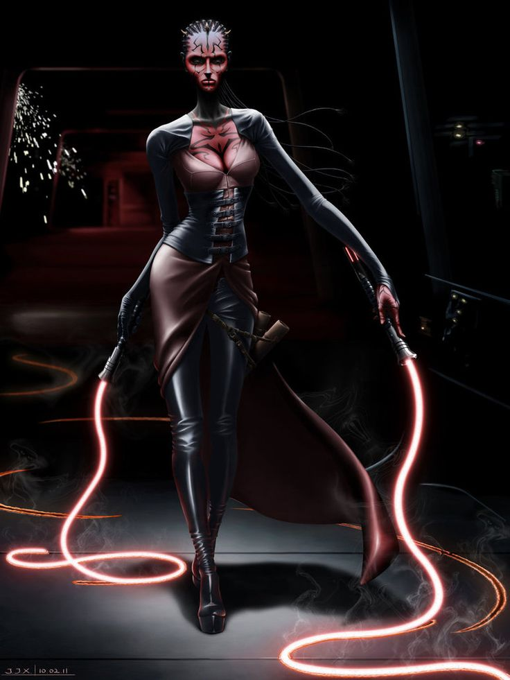 I really like the character Darth Maul, so I created this female Dathomirian Zabrak Sith Lord I call Darth Lash, and she's armed with double lightwhips. This piece was painted in PS CS3.