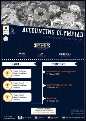 #OlimpiadeAkuntansi #InternationalAccountingWeek2017 #UMY #Yogyakarta International Accounting Week 2017 Accounting Olympiad  DEADLINE: 19 Februari 2017  http://infosayembara.com/info-lomba.php?judul=international-accounting-week-2017-accounting-olympiad