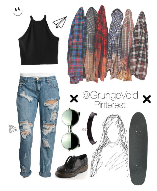 90's Grunge Look Outfit by @grungevoid on Polyvore featuring chokers, skateboards, flannels, boyfriend jeans and Dr. Martens