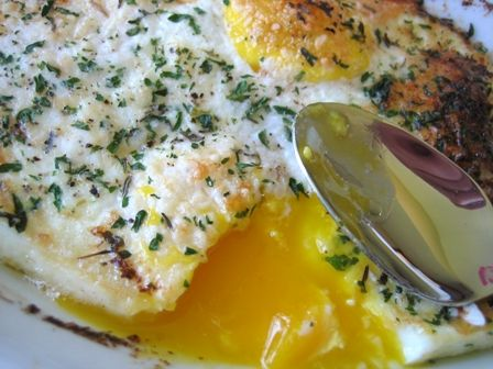 "Herbed-Baked Eggs  (Source: Ina Garten ""Barefood in Paris"" and the show Barefoot Contessa). Pinned from Brown-Eyed Baker."