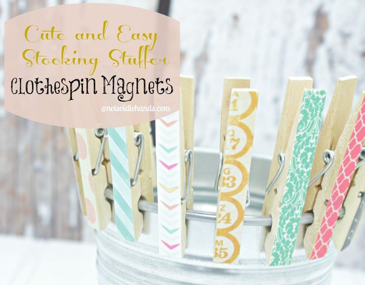 Cute & Easy Gift or Stocking Stuffer ~ Clothespin Magnets @NotSoIdleHands.com