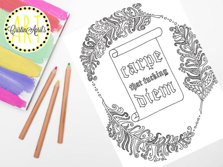 Printable Adult Coloring Book Page Carpe Diem Instant Download DIY Wall Art