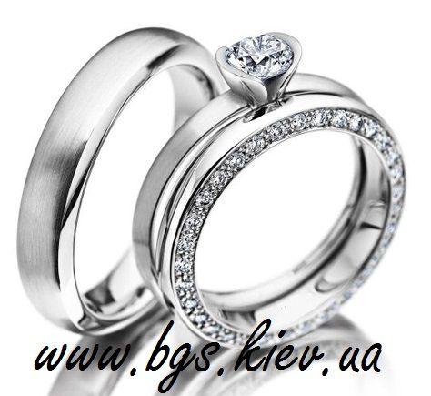 Обручальные кольца из белого золота «diamond» с бриллиантом, арт. 10-Бз. Каталог ювелирных украшений от производителя Best Gold Service.