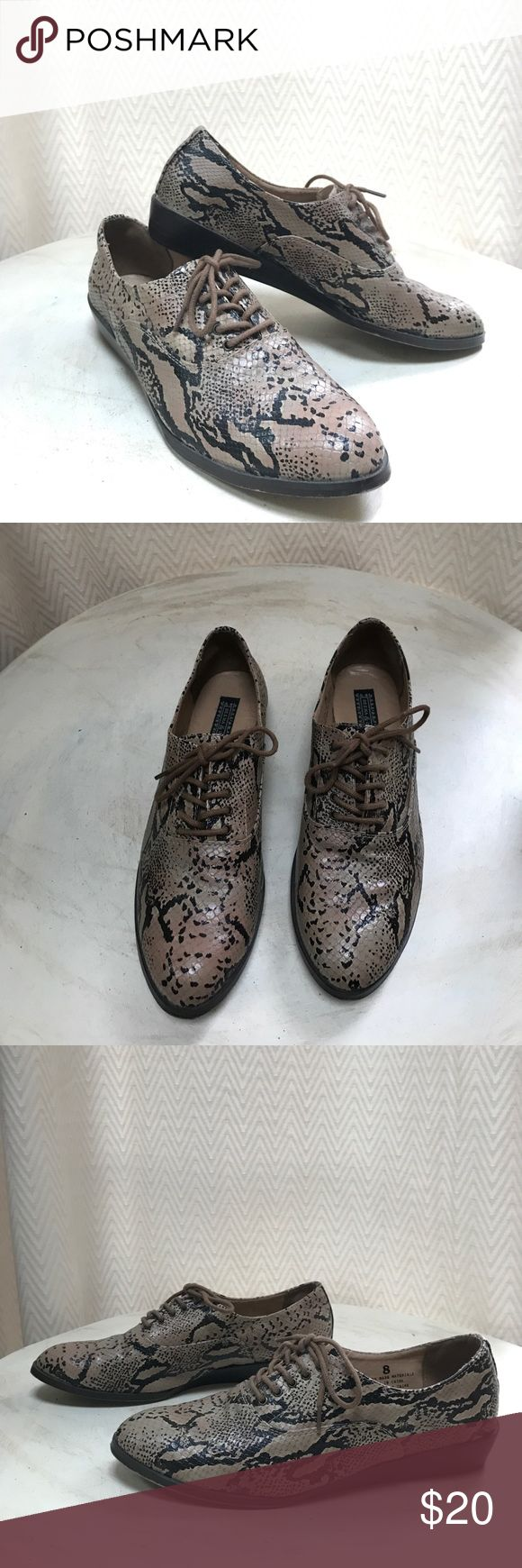 Deena & Ozzy Snakeskin Print Oxfords Deena & Ozzy Urban Outfitters wedge oxfords. Size 8. Never worn outside- worn once around the house but just weren't my size. Soles have very little wear. Runs true to size. Deena & Ozzy Shoes Flats & Loafers