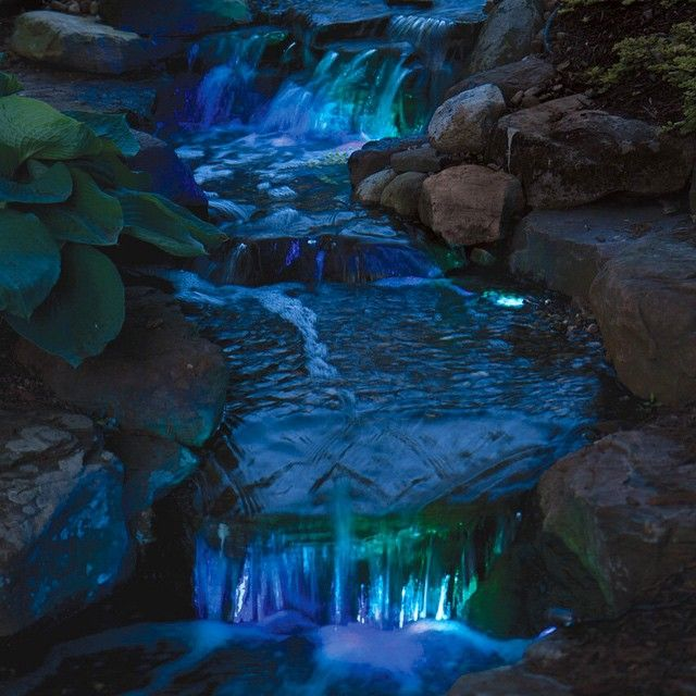 Check out that color! Enjoy your water feature late into the night with color changing LED lighting from Atlantic Water Gardens