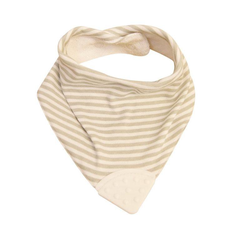 Teether Bib - Grey/White Pinstripe - Clothing - Baby Belle