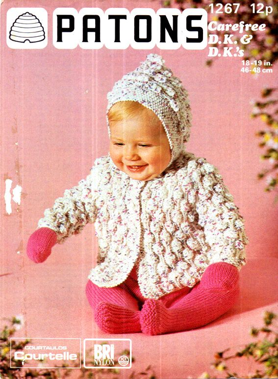 PDF Vintage 1960s PATONS 1267 Baby 'Iced Lollipop' Set Knitting Pattern BOBBLES Hooded Jacket, Leggings Pullups & Mitts