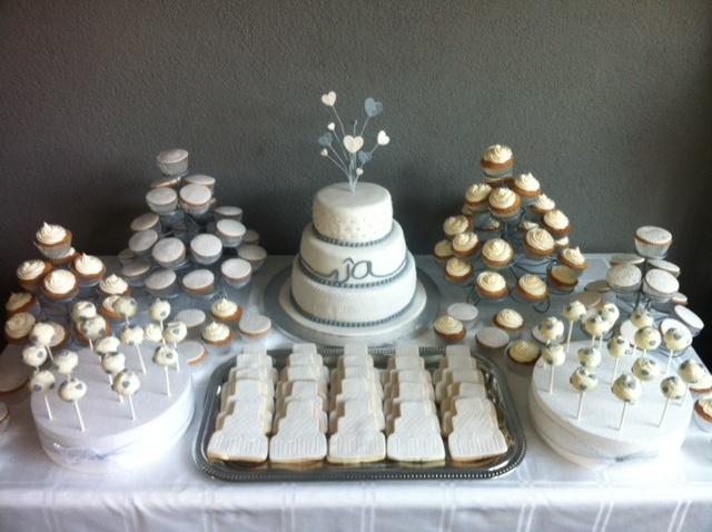 White wedding cake cupcakes cakepops cookies