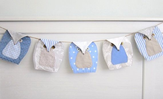 blue owls Bunting (5), Owls Garland, Owls Nursery Bunting - Blue, beige and white