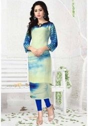 DESIGNER PURE GEORGETT DIGITAL PRINT WHITE SKY BLUE KURTIS