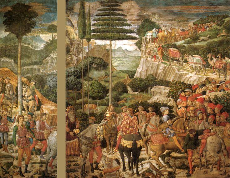 Benozzo Gozzoli, Cappella dei Magi, parete ovest senza scantonatura, 1459-1461,