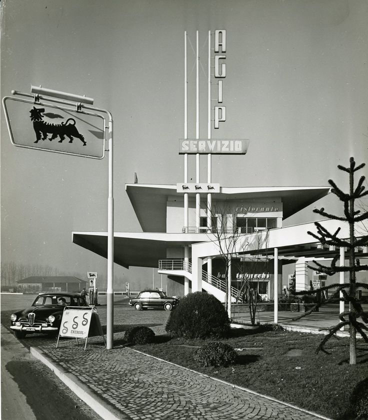 stazione di servizio agip - moncalieri - 1958